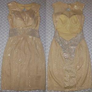 Dresses & Skirts - Swavroski crystal backless gold mesh cocktail dres